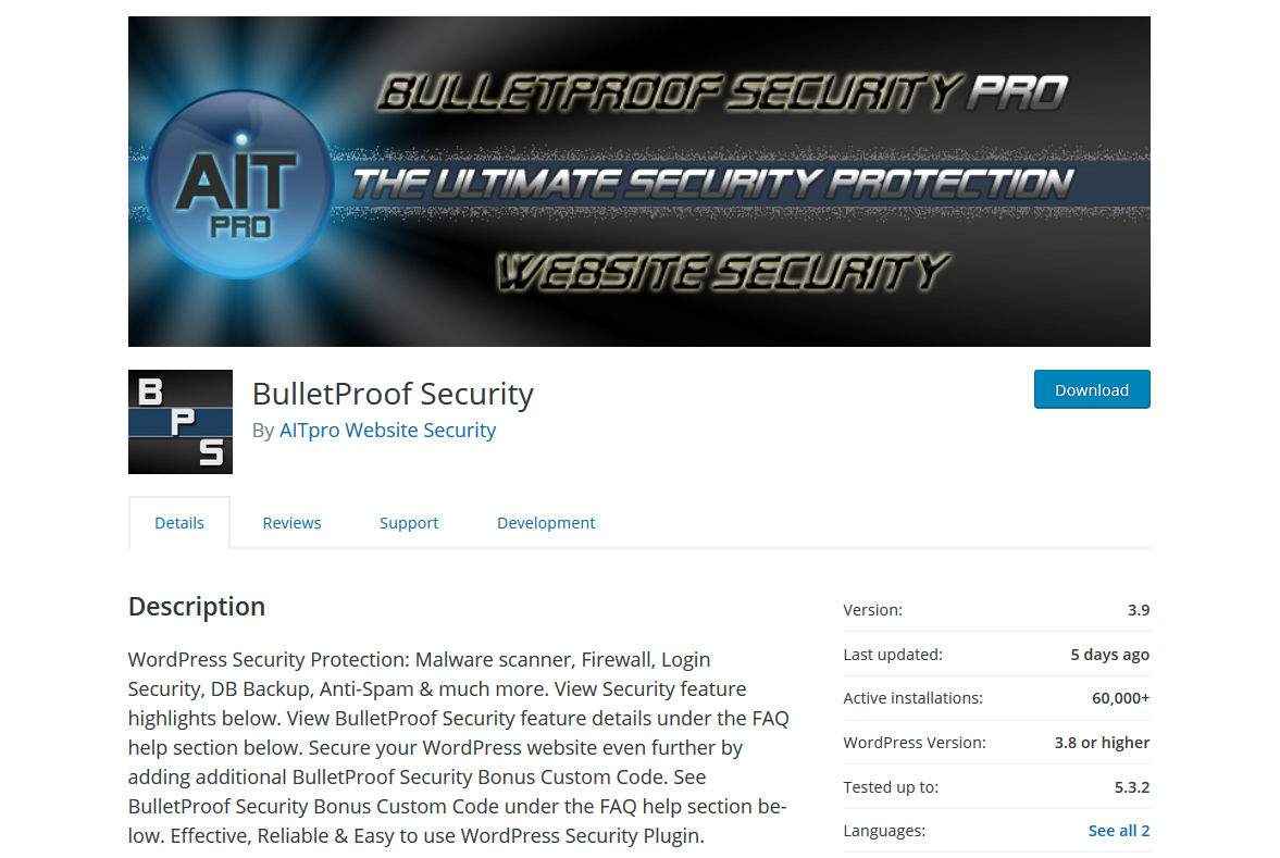 Malware Scanner, Firewall, Login Security, Db Backup, Anti Spam Security Features