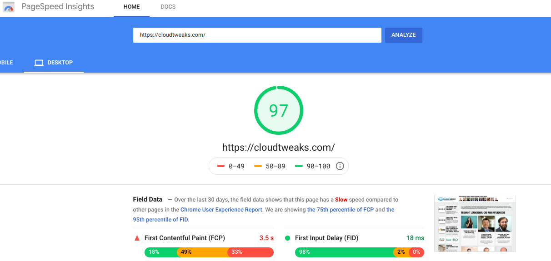 Google Cloudtweaks Speed Test Light House